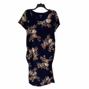 Isabel maternity floral design dress rouched side